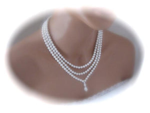 Three strand pearl necklace and earrings set bridal jewelry - Clairesbridal - 3