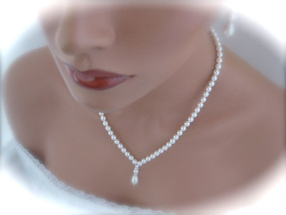 White pearl wedding necklace and earrings set - Clairesbridal - 1