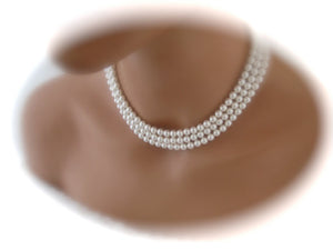Multi Strand White Pearl Necklace Bridal Jewelry - Clairesbridal - 4