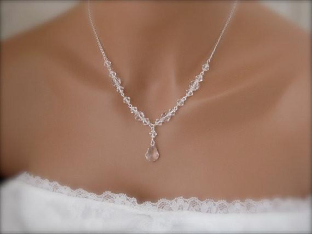 Clear Crystal Wedding Jewelry Necklace - Clairesbridal - 1