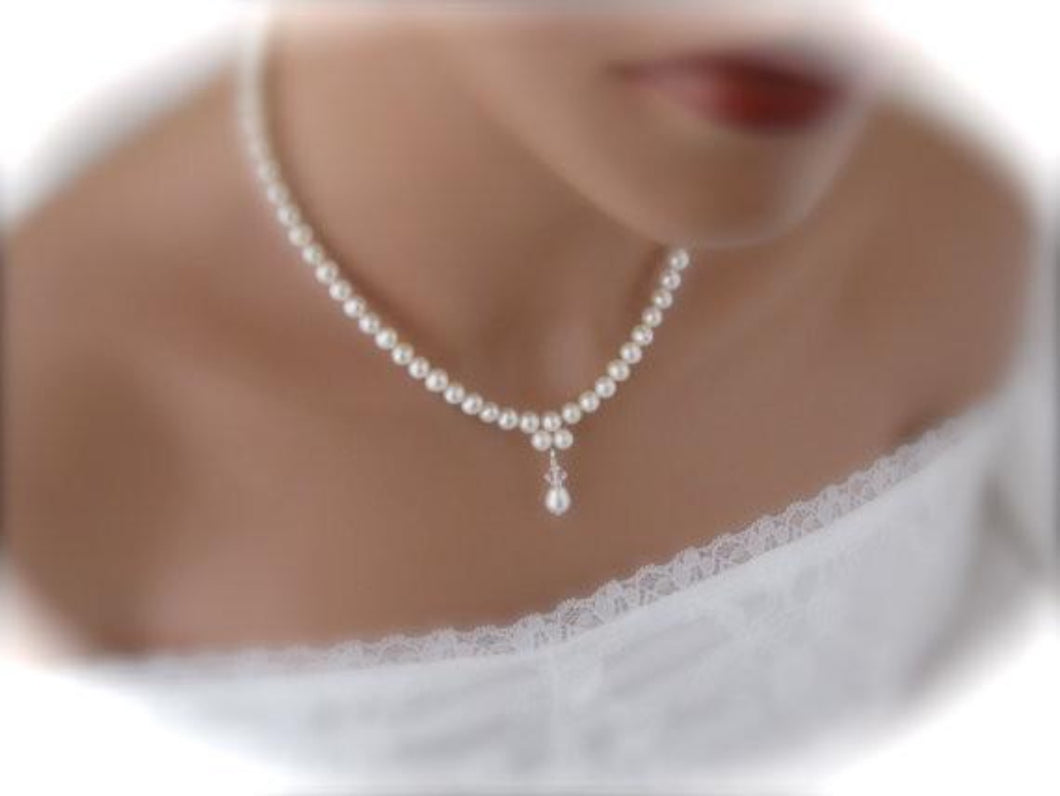 Wedding necklace and earrings sets for brides - Clairesbridal - 1