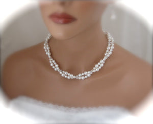 White Pearl Bridal Necklace and Earrings for Bride - Clairesbridal - 2
