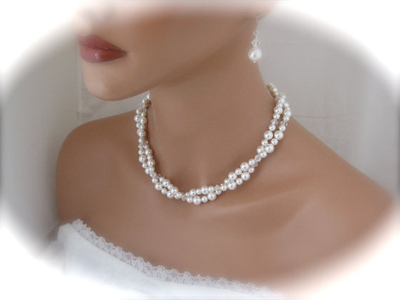 White Pearl Bridal Necklace and Earrings for Bride - Clairesbridal - 1