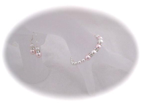 Pink and White Pearl bracelet and Earrings sets for Bridesmaids - Clairesbridal - 1