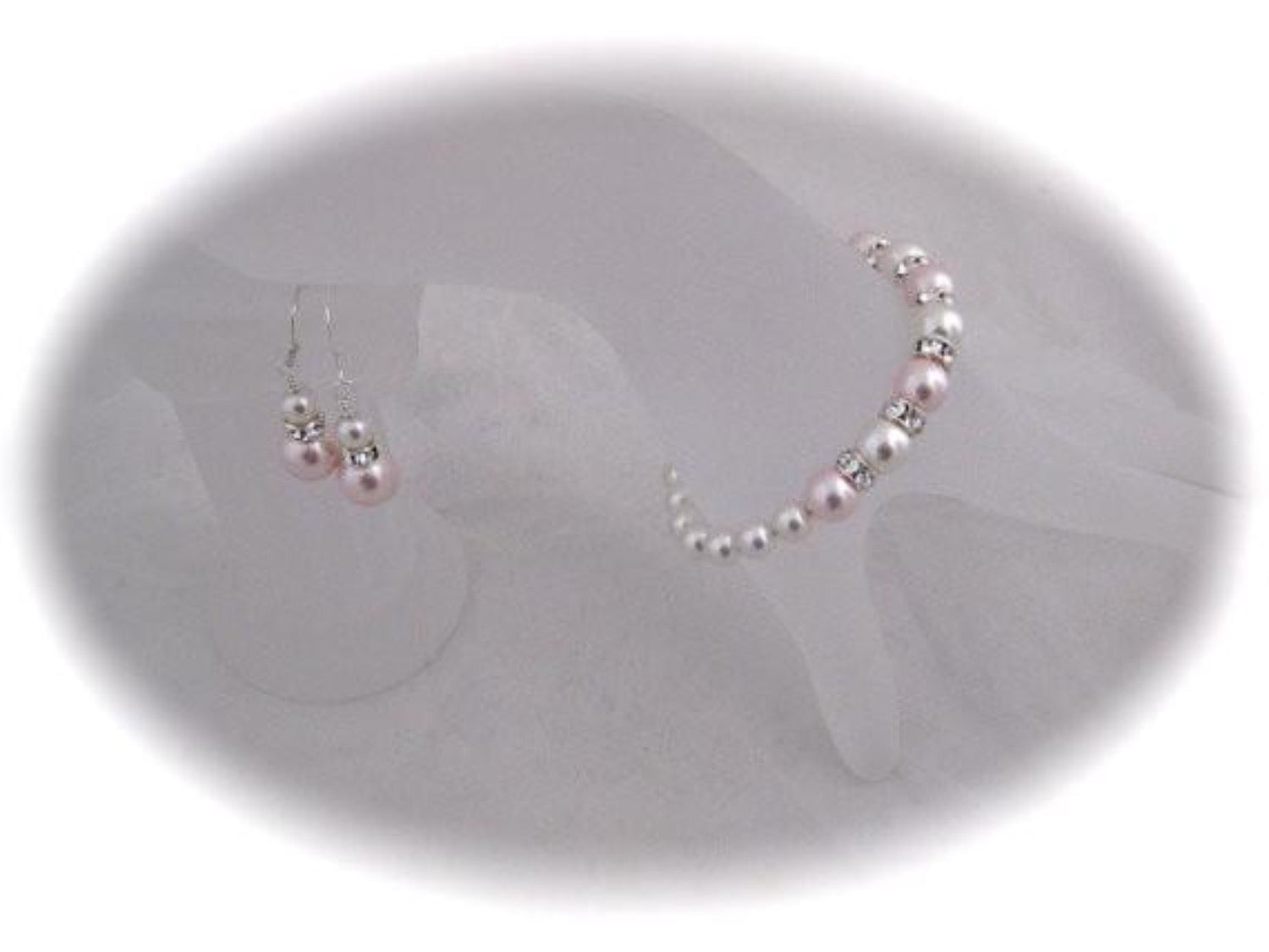 Pink and White Pearl bracelet and Earrings sets for Bridesmaids - Clairesbridal - 2