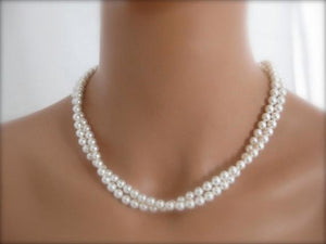 Two strand pearl necklace wedding jewelry - Clairesbridal