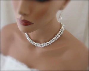 Double Strand White Pearl Necklace and Earring Set for Wedding - Clairesbridal - 1