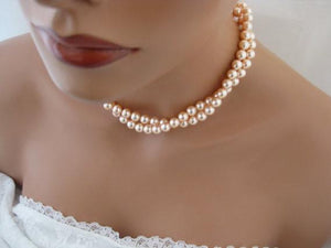 Peach Pearl Necklace and Earring Set for Bridesmaids - Clairesbridal - 3