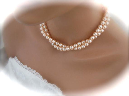 Peach Pearl Necklace and Earring Set for Bridesmaids - Clairesbridal - 1