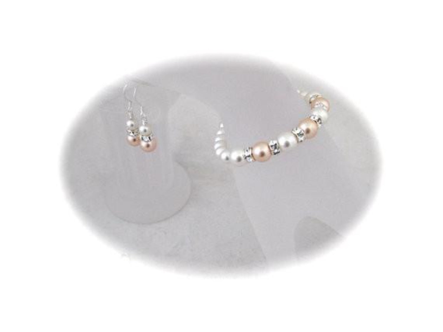 Peach and White Wedding Bracelet and Earrings Sets for Bridesmaids - Clairesbridal