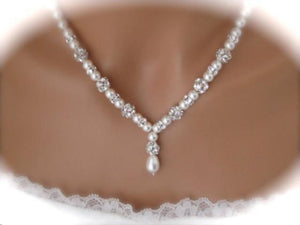 Pearl and Rhinestone Necklace and Earring Set Wedding Jewelry - Clairesbridal - 5