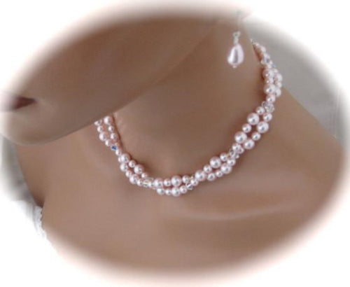Pink pearl bridesmaid jewelry sets Necklace and Earrings - Clairesbridal - 1
