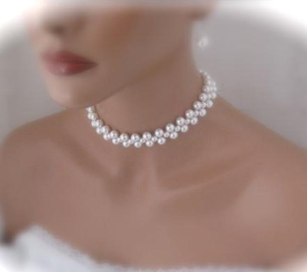 Multi Strand Pearl Choker Necklace Wedding Jewelry Set Swarovski Necklace and Earrings - Clairesbridal