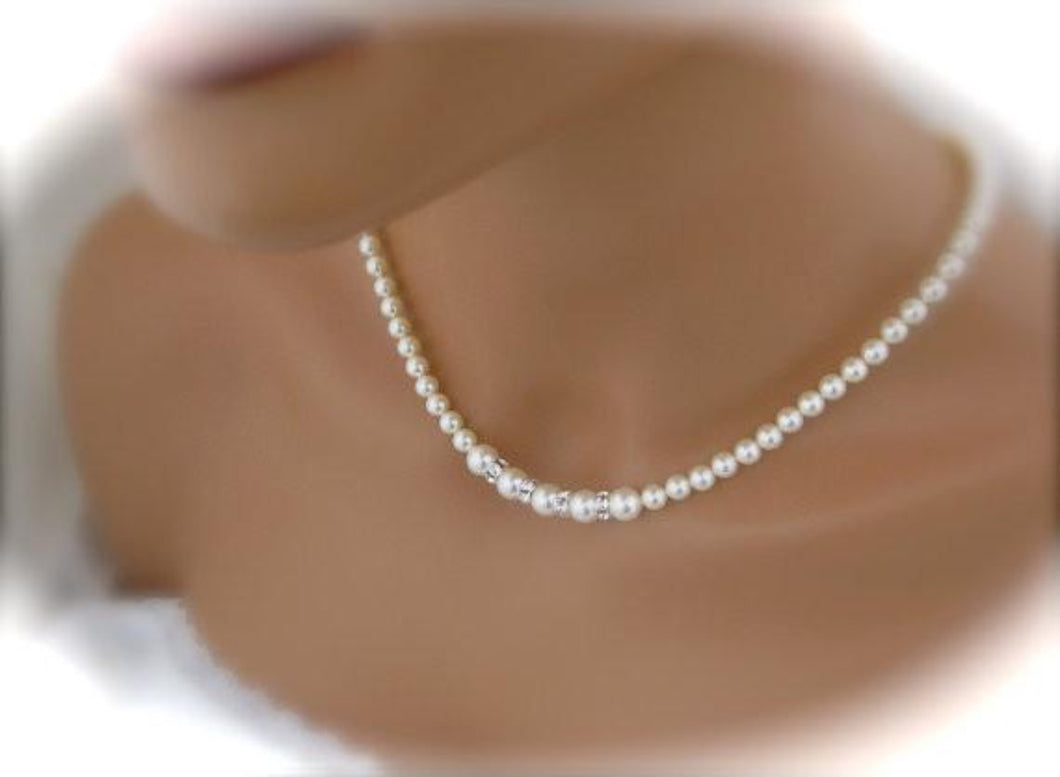 Wedding Jewelry Pearl Necklace Sets Bridal Jewelry Necklace and Earrings - Clairesbridal - 1