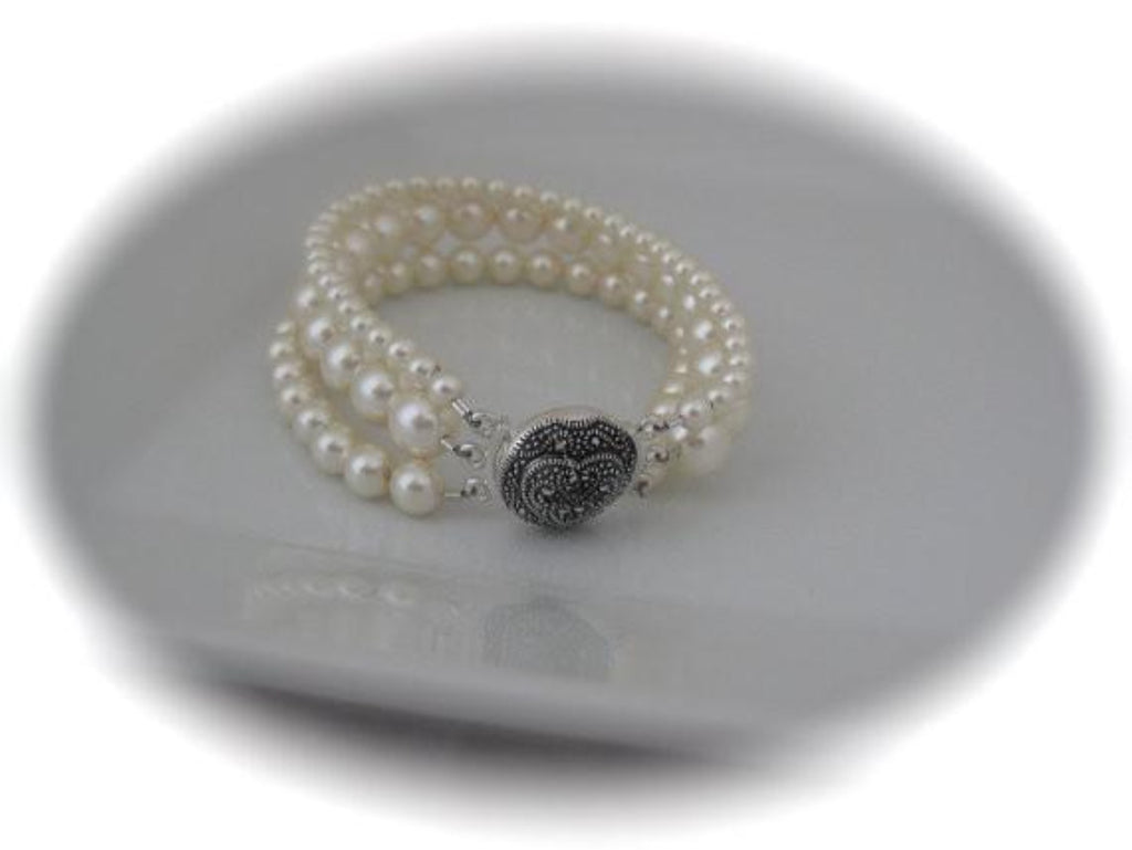 Ivory Pearl Bracelet Bridal Jewelry - Marcasite Clasp - Clairesbridal - 1