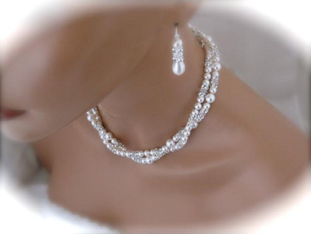 Double Strand Pearl Necklace and Earring Set Wedding Jewelry - Clairesbridal - 1