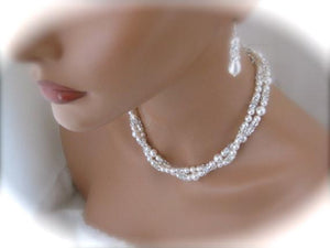 Double Strand Pearl Necklace and Earring Set Wedding Jewelry - Clairesbridal - 2