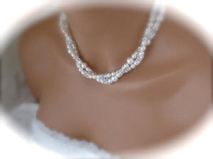 Double Strand Pearl Necklace and Earring Set Wedding Jewelry - Clairesbridal - 3