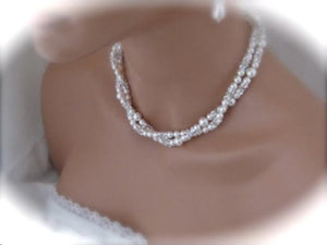 Double Strand Pearl Necklace and Earring Set Wedding Jewelry - Clairesbridal - 4