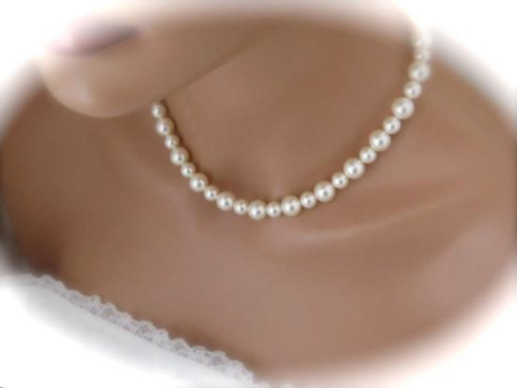 Swarovski Ivory Pearl Necklace Bridal Earrings Studs - Clairesbridal - 1