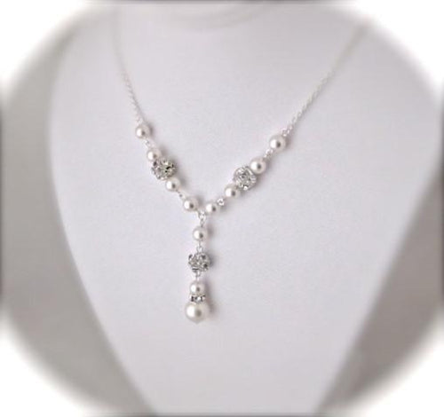 pearl and rhinestone necklace wedding jewelry - Clairesbridal - 1