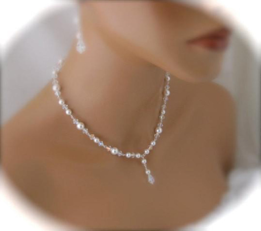 Pearl and crystal necklace and earrings wedding jewelry set - Clairesparklesbridal