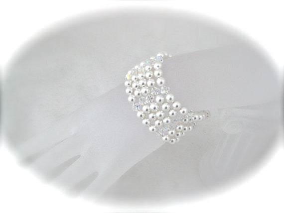 White pearl wedding bracelet for bride - Clairesbridal - 1