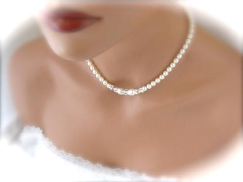 Elegant Wedding Jewelry Set, Pearl and Crystal Necklace and Bracelet - Clairesbridal - 1