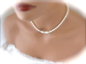 Elegant Wedding Jewelry Set, Pearl and Crystal Necklace and Bracelet - Clairesbridal - 3