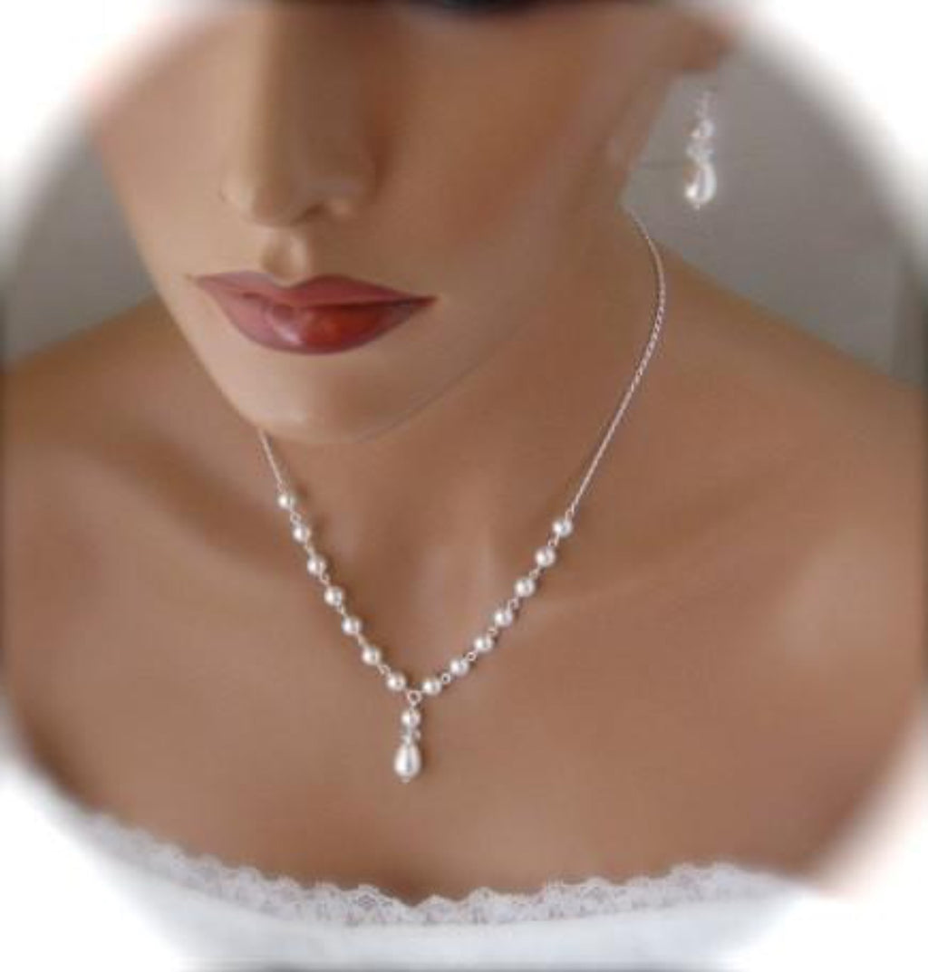 Bridal Jewelry Set, Pearl and Crystal Necklace and Earring Set - Clairesbridal - 1