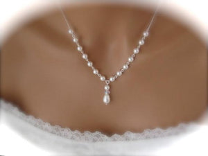 Wedding Jewelry Set Pearl Necklace and Earring Set - Clairesbridal - 2