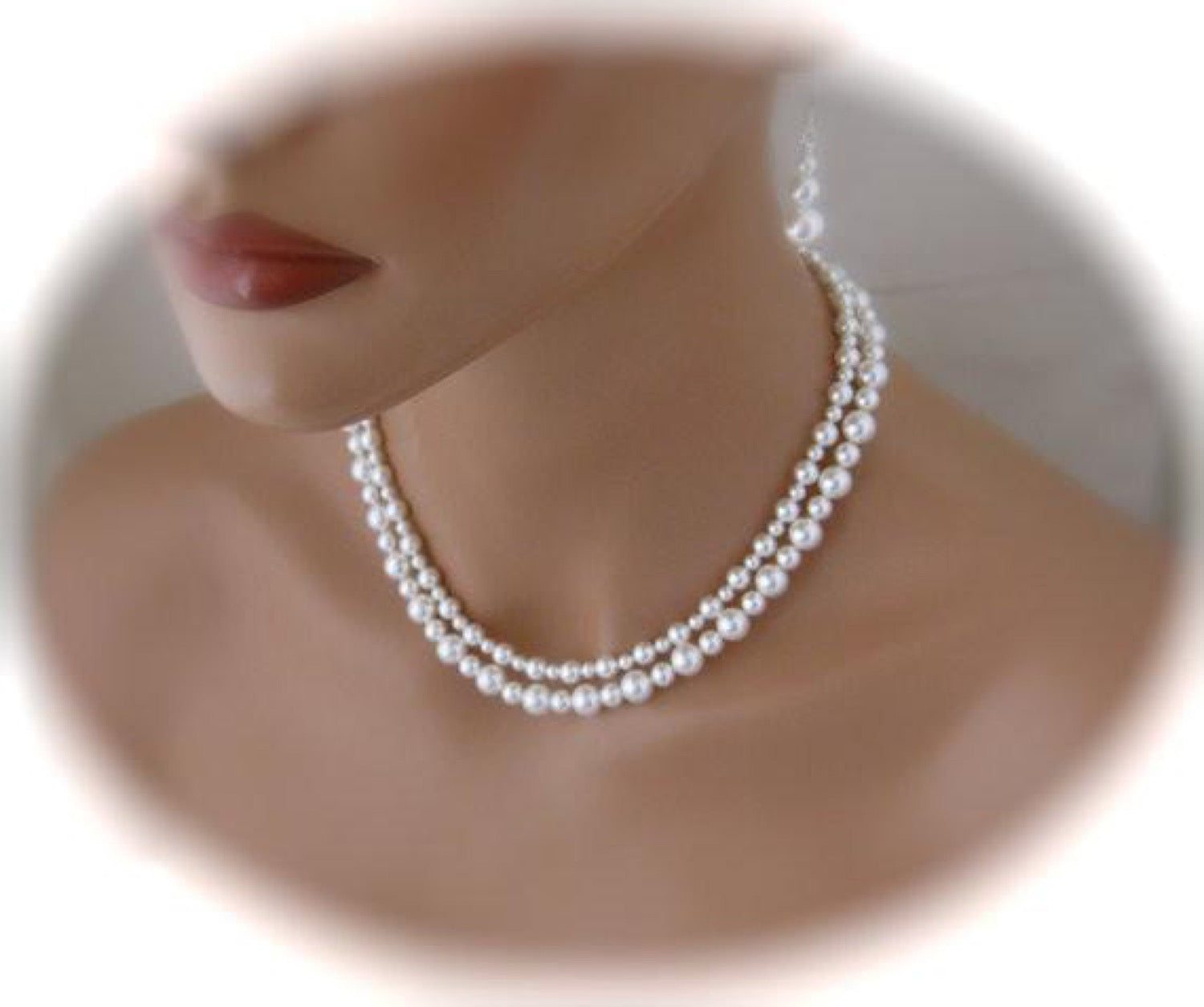 White Double Strand Pearl Necklace Bridal Earrings Wedding Jewelry - Clairesbridal - 2