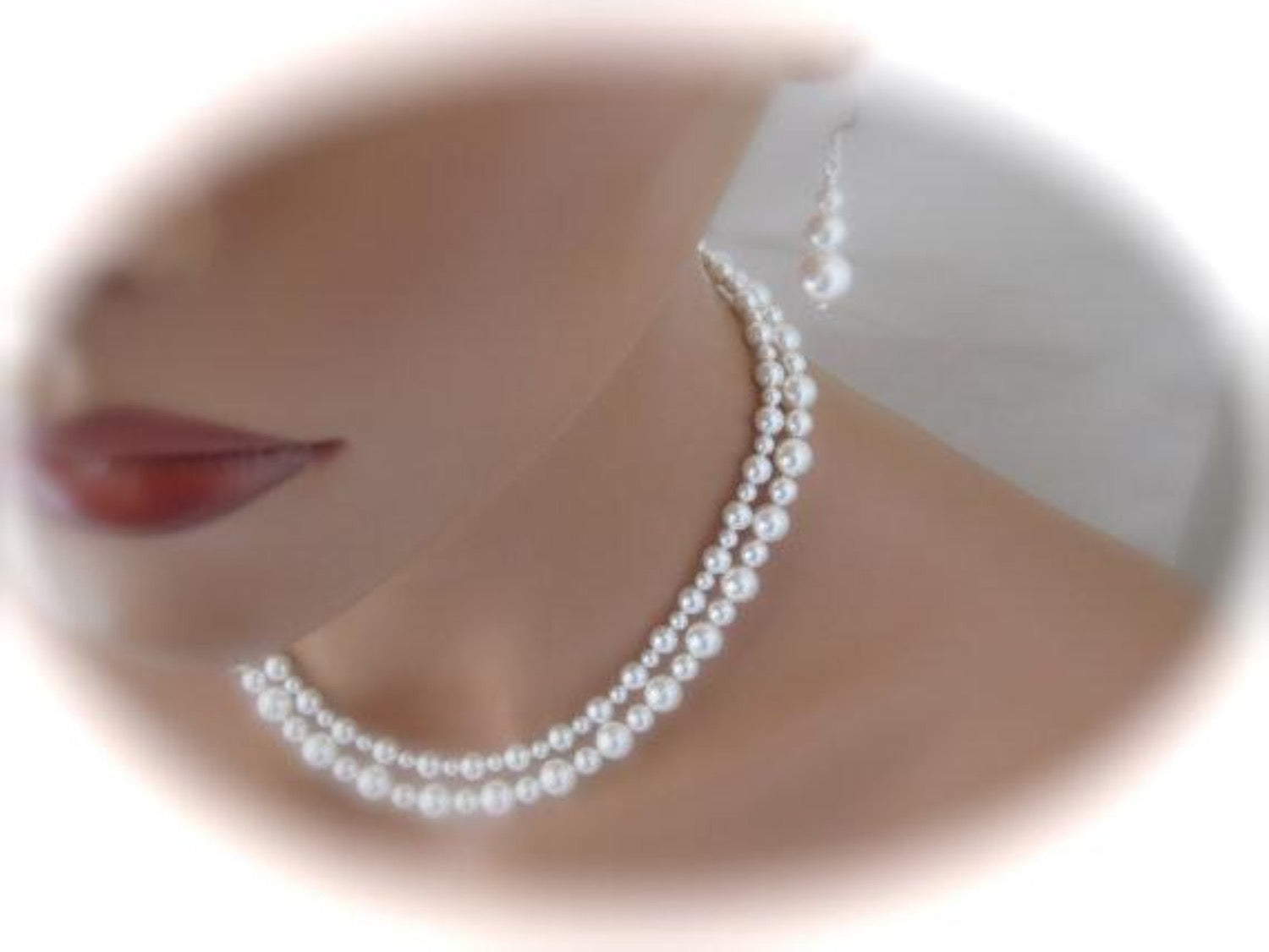 White Double Strand Pearl Necklace Bridal Earrings Wedding Jewelry - Clairesbridal - 3