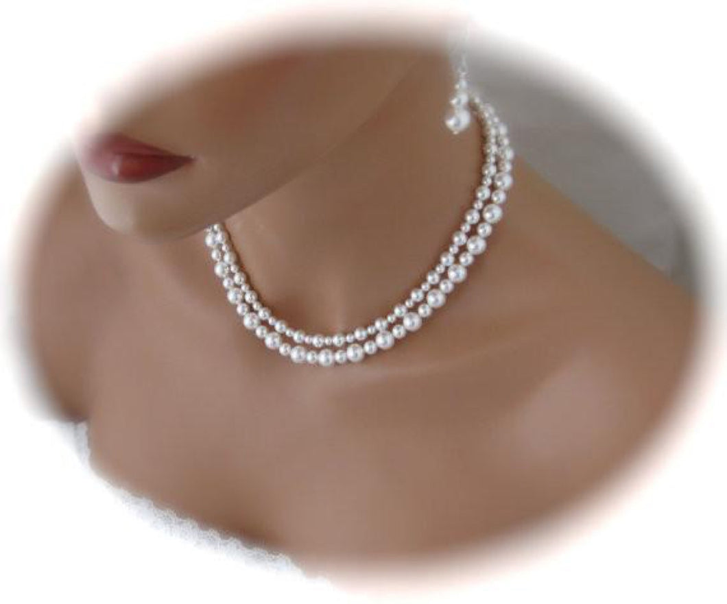 Double Strand Pearl Necklace and Earrings Wedding Jewelry - Clairesbridal - 1