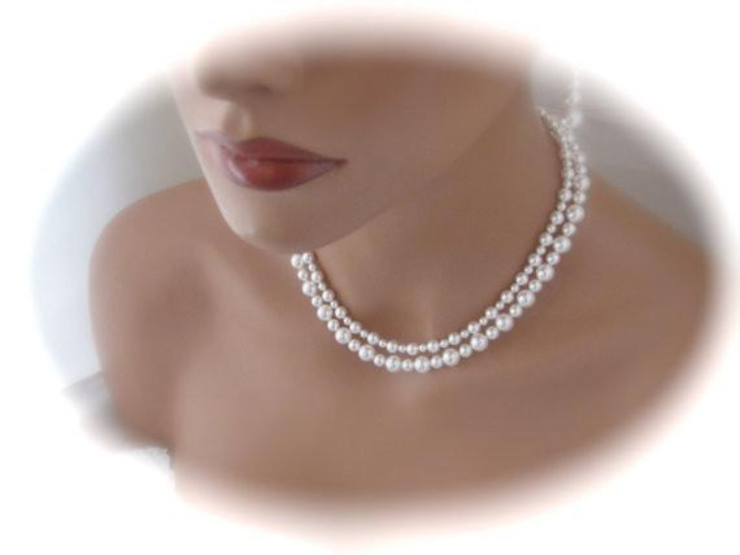 White Double Strand Pearl Necklace Bridal Earrings Wedding Jewelry - Clairesbridal - 4