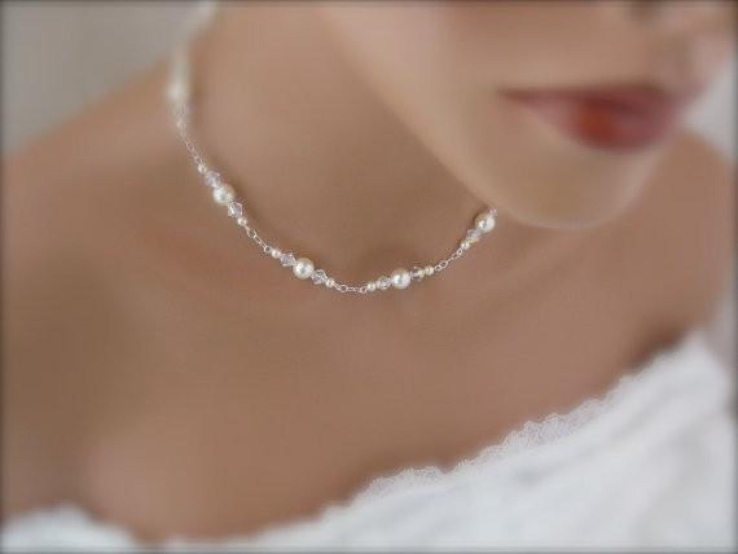 Wedding Jewelry Pearl and Crystal Necklace Bridal Jewelry - Clairesbridal - 1