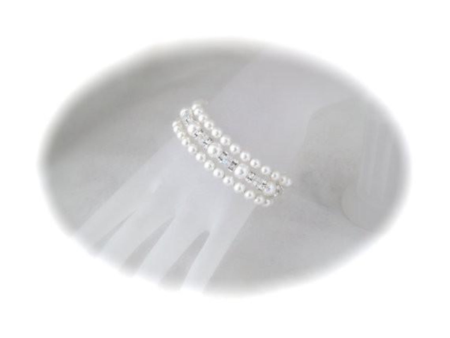 Three Strand Pearl Cuff Bracelet Wedding Jewelry - Clairesbridal - 2