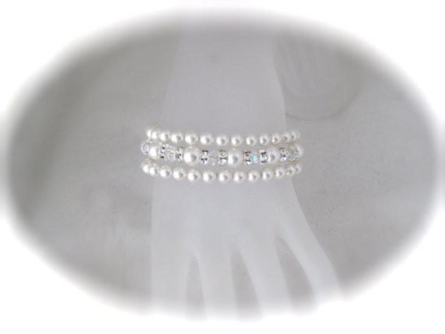 Three Strand Pearl Cuff Bracelet Wedding Jewelry - Clairesbridal - 3