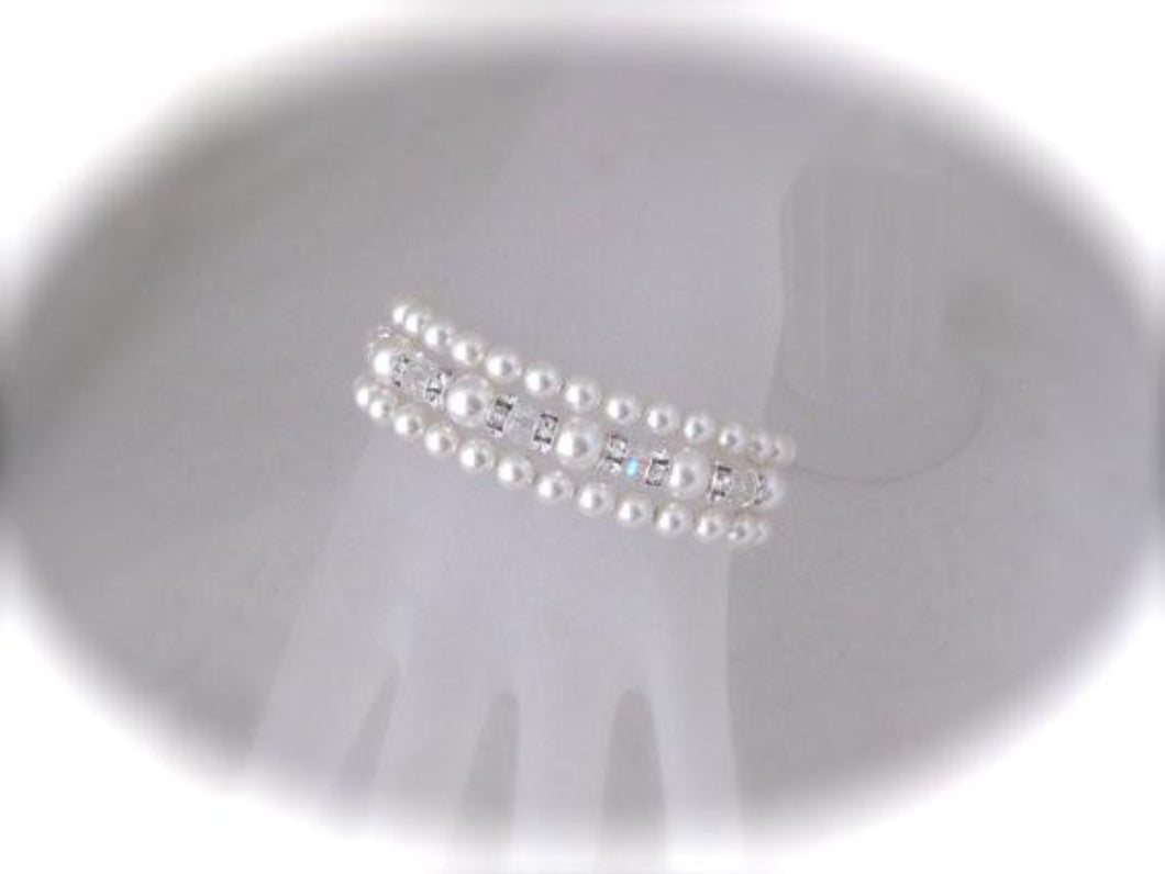 Three Strand Pearl Cuff Bracelet Wedding Jewelry - Clairesbridal - 1