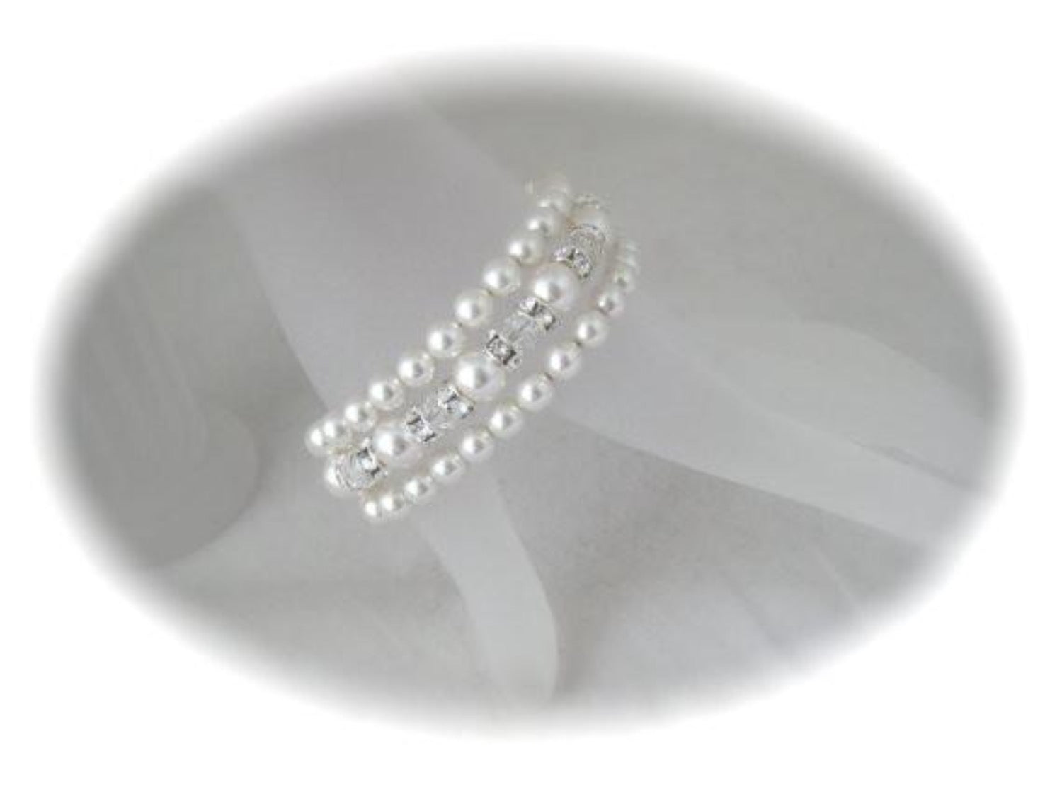 Three Strand Pearl Cuff Bracelet Wedding Jewelry - Clairesbridal - 4