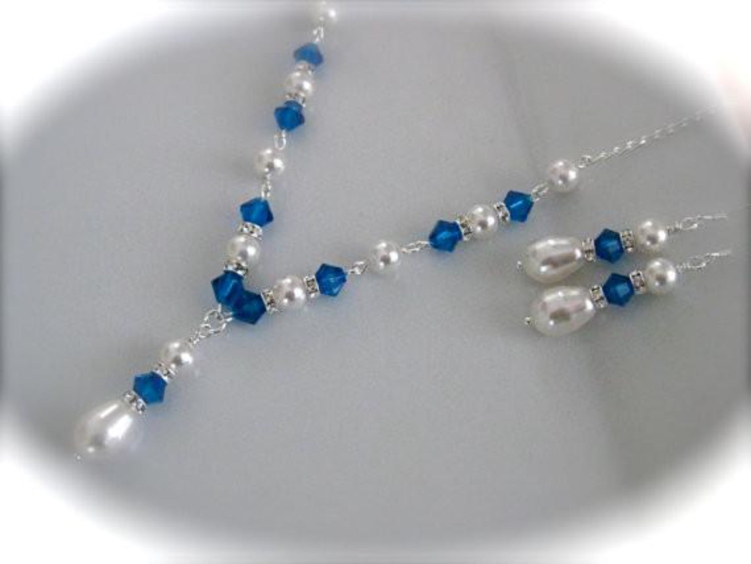 White pearl and blue crystal bridesmaid jewelry necklace and earrings - Clairesbridal - 1