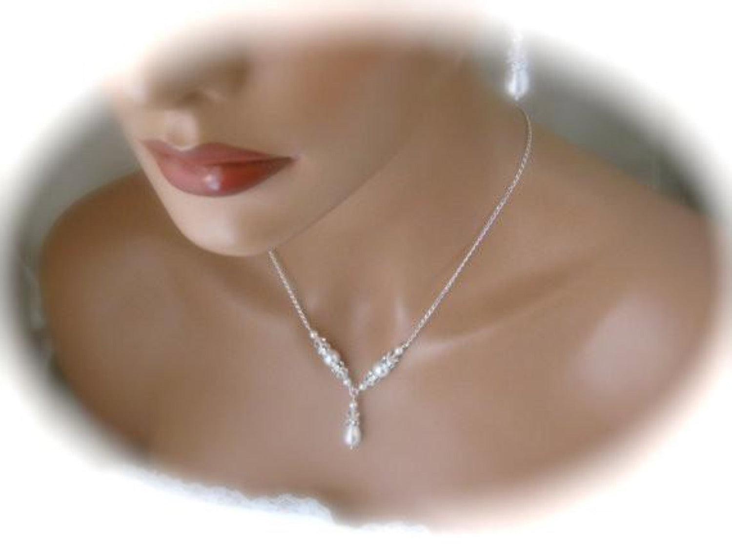 Bridal Pearl Necklace and Earrings Wedding Jewelry Set - Clairesbridal - 2