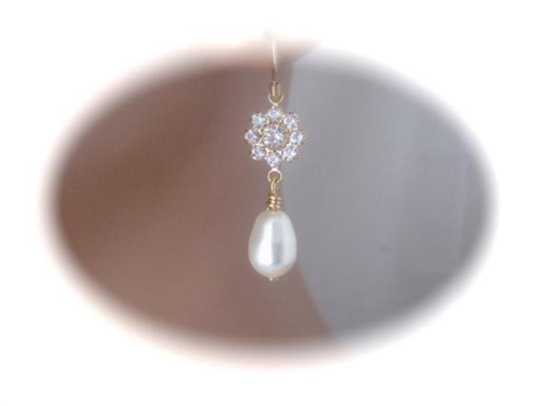 Gold Pearl and Crystal Drop Earrings Bridal Jewelry - Clairesbridal