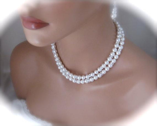 Bridal Jewelry Sets, Swarovski Pearl Necklace and Earrings - Clairesbridal - 1