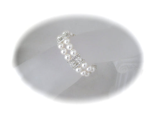 Double strand pearl bracelet wedding jewelry rhinestone and pearl - Clairesbridal