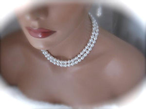 Bridal Jewelry Sets, Swarovski Pearl Necklace and Earrings - Clairesbridal - 2