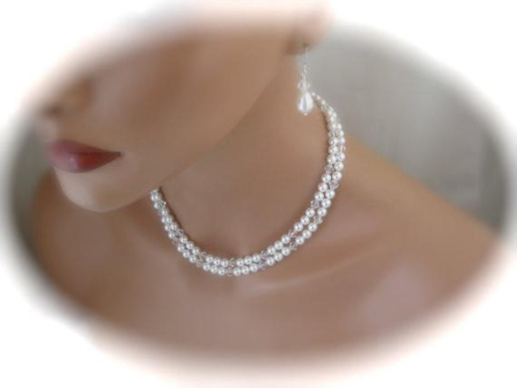 Wedding Pearl Necklace and Earrings Set Bridal Jewelry Swarovski - Clairesbridal - 1