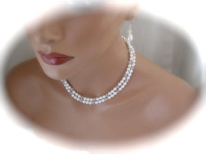 Wedding Pearl Necklace and Earrings Set Bridal Jewelry Swarovski - Clairesbridal - 2
