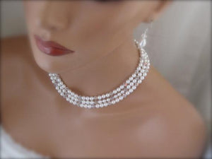 Multi Strand Pearl Necklace Crystal Necklace and Earrings For Bride - Clairesbridal - 1