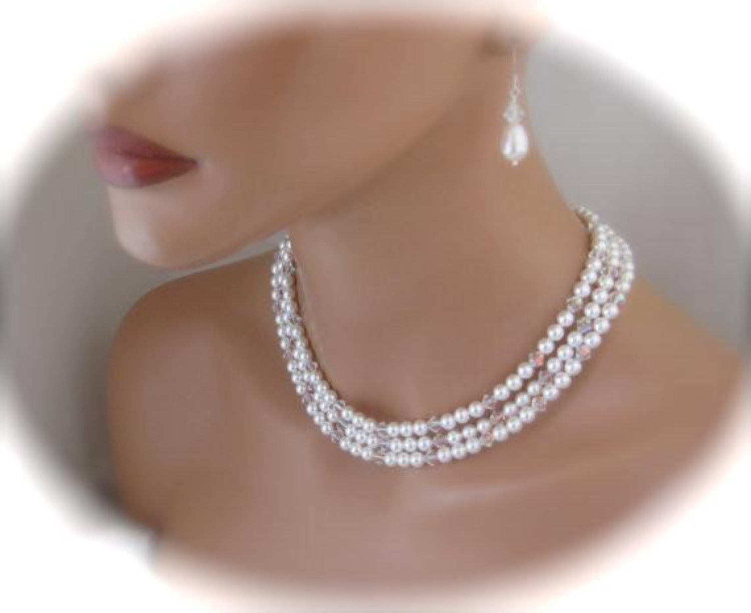 Multi Strand Pearl Necklace Crystal Necklace and Earrings For Bride - Clairesbridal - 2